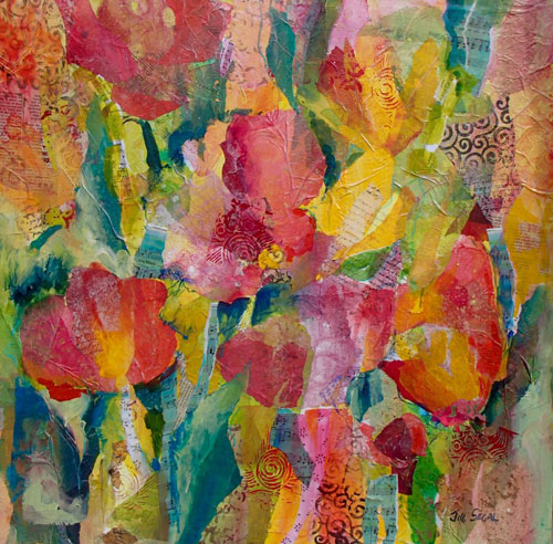 Joyful Blooms, 24x24, mixed media, $700