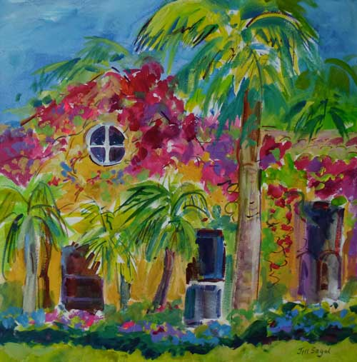 Sunshine Cottage, H24xW24, Mixed Media, $980