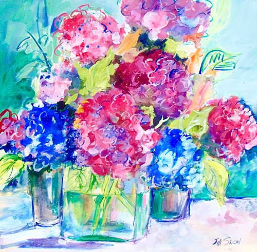 Hydrangea Joy, H24xW24, Mixed media, $980‏