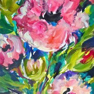 Pink Poppy Passion, 30 x 22, Acrylic, $1100
