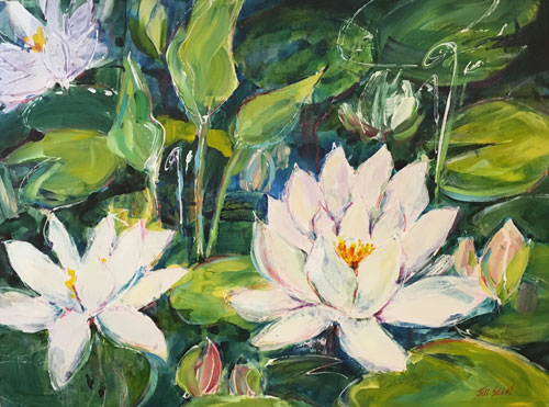 Waterlily Dance, 30 h x 40 w, Acrylic, $1800