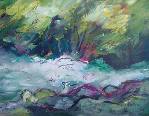 Rushing Waters, 14 x 11, Mixed Media, $200, board