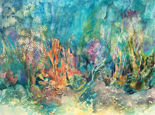 Enchantment under the ocean, mixed media, 30-x40, $2100
