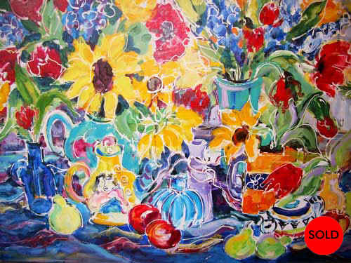 Teapot and Flowers, H36 x W48, Acrylic, SOLD