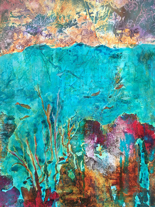 Splendour under the ocean, 40x30, Mixed media, $2100