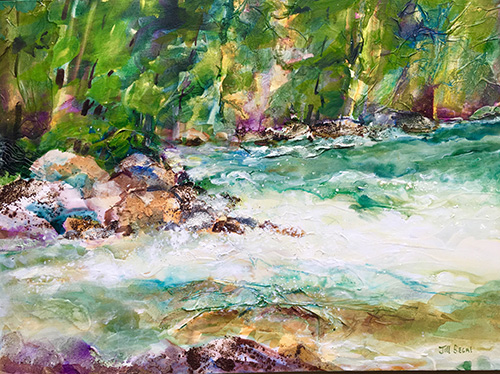 "Oxtongue Rapids, 22""x30"", Mixed Media, $975"