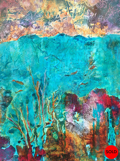 Splendour under the ocean, 40x30, Mixed media, SOLD