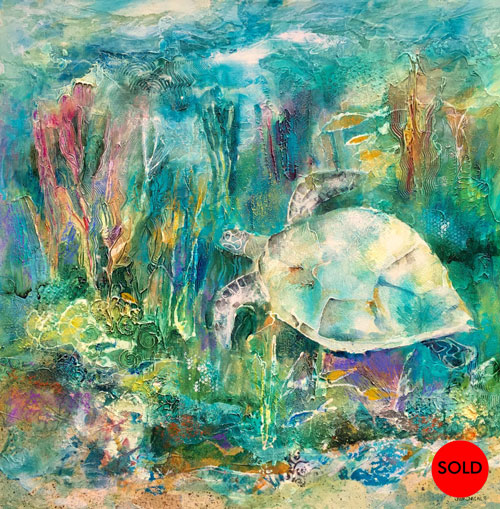 Turtle Delight #1, 36x36, Mixed-media, SOLD