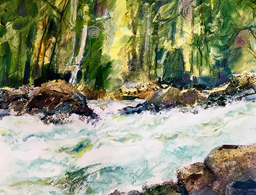 White Water Magic, 24 x 30, Mixed Media, $975