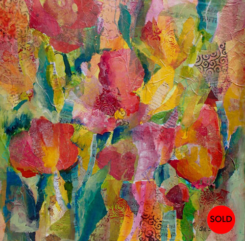 Joyful Blooms, 24x24, mixed media, SOLD