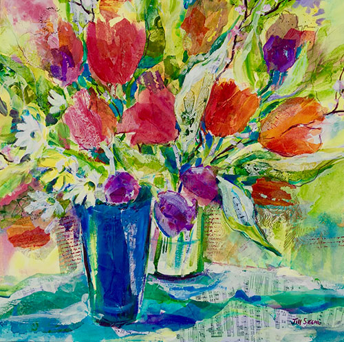 Joyful blooms (blue vase), 24 x 24, $980