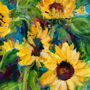"Sunflower Energy #2, 30""x22"", Mixed Media, $1100"