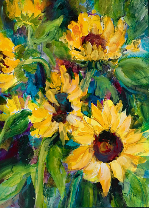 Sunflower Energy #2, 30 x 22, Mixed Media, $1100