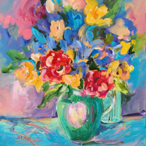 "Floral delight, 24""x24"", Acrylic, $750"