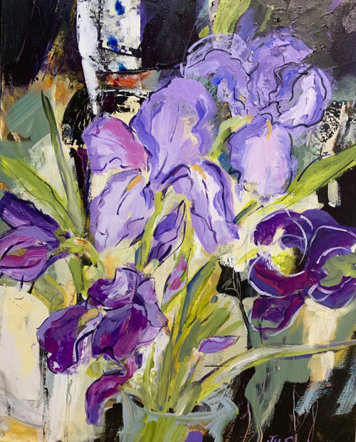 "Iris delight, 30""x24"", Mixed Media, $975"