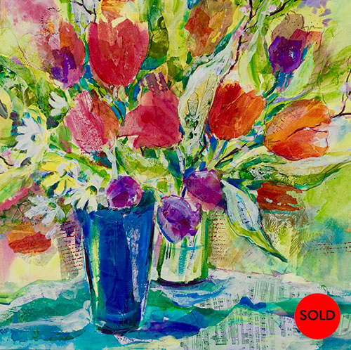 Joyful blooms (blue vase), 24 x 24, SOLD