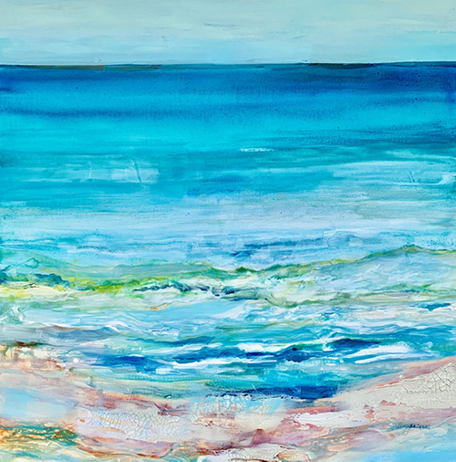"Ocean Healing, 36""x36"", Mixed Media, $1800"