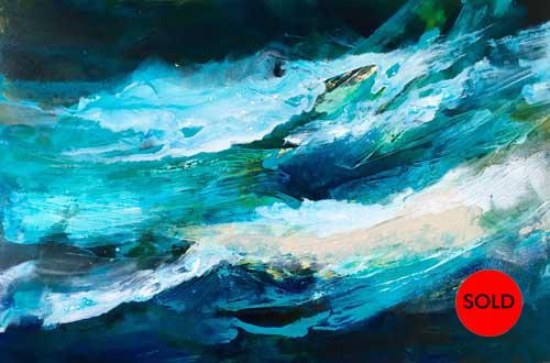 SOLD Ocean Inspiration #11, 24x36, Mixed media, $1200