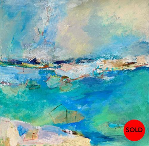 "SOLD Ocean Joy, 36""x36"", Mixed media, $1800"