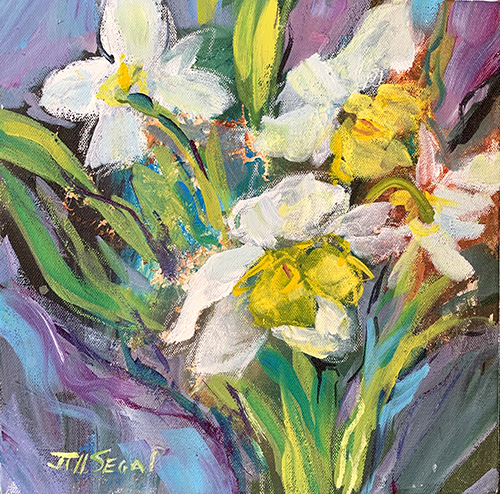 """SOLD - The Daffodils 12""""x12"""" Mixed media"""