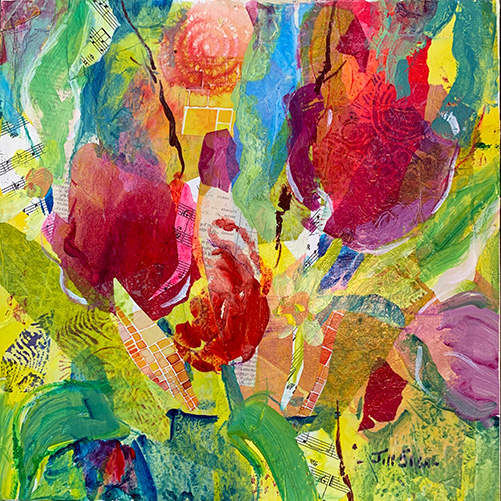 """SOLD - Spring Song #1, 12""""x12"""", Mixed Media"""