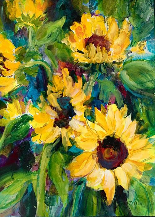 """Sunflower energy #2, 30"""" x 22"""", Acrylic, $975"""