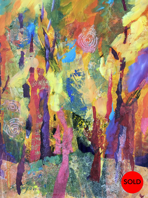 SOLD Enchanted-Forest, 24x20, Mixed-Media, $600
