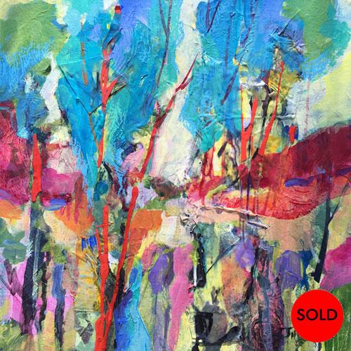 SOLD Enchanted-Landscape, 12x12, Mixed media, $300