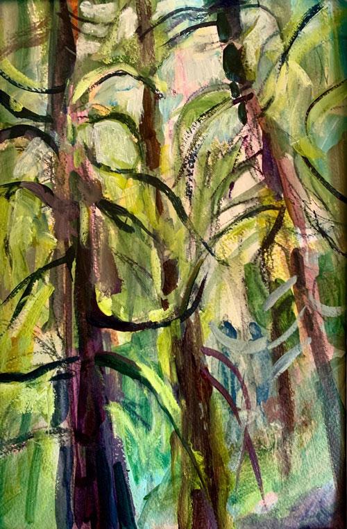 """Forest Beauty, 12"""" x 9"""", Acrylic, $150"""