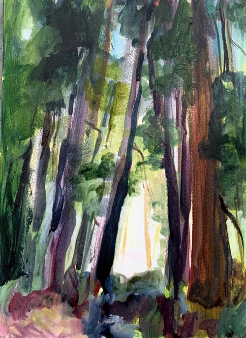 """Into the light"" (study) 12"" x 9"", Acrylic. $150"