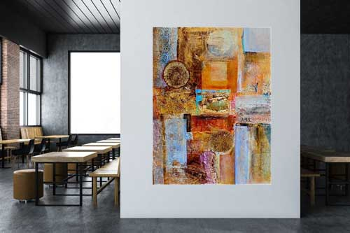 Interconnections #2, 48 x 36, mixed media, $3300